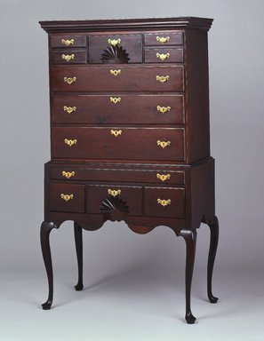 Highboy (High Chest of Drawers), ca. 1760. Cherry, mahogany, overall: 71 3/4 x 39 1/4 x 21 3/8 in. (182.2 x 99.7 x 54.3 cm). Brooklyn Museum, Henry L. Batterman Fund, 14.713a-b. Creative Commons-BY