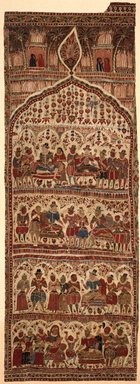 Hanging, 1 of 7 Pieces, ca. 1610-1620. Painted resist and mordants, dyed cotton, 108 1/4 x 37 3/4 in. (275 x 95.9 cm). Brooklyn Museum, Museum Expedition 1913-1914, Museum Collection Fund, 14.719.2