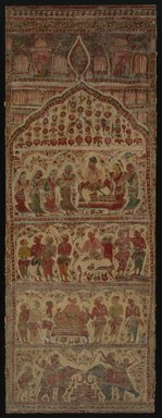 Hanging, 1 of 7 Pieces, 1610-1640. Cotton, drawn and painted resist and mordants, dyed, Other: 109 1/4 x 38 1/4 in. (277.5 x 97.2 cm). Brooklyn Museum, Museum Expedition 1913-1914, Museum Collection Fund, 14.719.7. Creative Commons-BY
