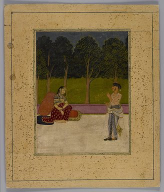 Indian Picture, Fragment, ca. 1800. Opaque watercolors on paper, Overall: 9 1/4 x 7 3/4 in. (23.5 x 19.7 cm). Brooklyn Museum, 14.738.3