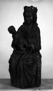 Spanish. Seated Figure of the Virgin Holding the Christ Child, 15th century. Wood, Height: 16 1/8 in. (41 cm). Brooklyn Museum, Museum Collection Fund, 15.274. Creative Commons-BY