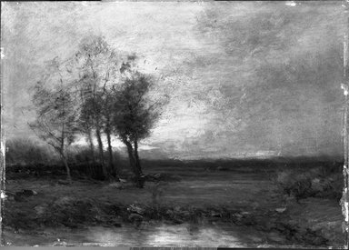 John Francis Murphy (American, 1853-1921). Landscape, 1895. Oil on pressed fiberboard, 9 13/16 x 13 13/16 in. (24.9 x 35.1 cm). Brooklyn Museum, Bequest of Charles A. Schieren, 15.287