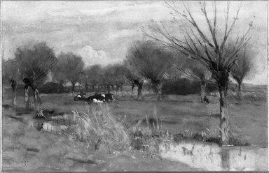 George Jan Hendrik Poggenbeek (Dutch, 1853-1903). Brook and Willows. Watercolor Brooklyn Museum, Bequest of Robert B. Woodward, 15.289