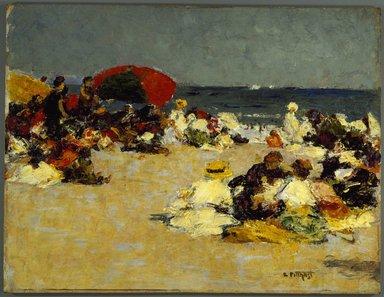 Edward Henry Potthast (American, 1857-1927). On the Beach, ca. 1913. Oil on canvas, 12 7/16 x 16 in. (31.6 x 40.7 cm). Brooklyn Museum, John B. Woodward Memorial Fund, 15.291