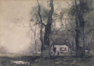 Henry Ward Ranger (American, 1858-1916). Lodge in the Woods, 1891. Watercolor on paper, 10 7/8 x 15 7/16 in. (27.6 x 29.2 cm). Brooklyn Museum, Bequest of Charles A. Schieren, 15.292