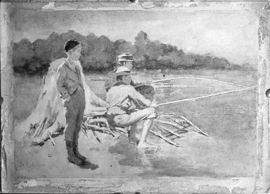 Theodore Robinson (American, 1852-1896). Children Fishing, 1881. Watercolor, 10 x 14 in. (25.4 x 35.6 cm). Brooklyn Museum, Caroline H. Polhemus Fund, 15.293