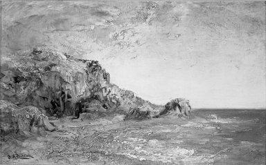 Ralph Albert Blakelock (American, 1847-1919). Coast of California, ca. 1875. Oil on canvas, 9 7/16 x 15 3/8 in. (24 x 39 cm). Brooklyn Museum, Bequest of Charles A. Schieren, 15.311