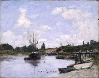 Eugène Louis Boudin (French, 1824-1898). The Port, Saint-Valéry-sur-Somme (Saint-Valéry-sur-Somme, Le Port), 1892. Oil on panel, 12 13/16 x 16 1/16 in. (32.5 x 40.8 cm). Brooklyn Museum, Bequest of Robert B. Woodward, 15.313