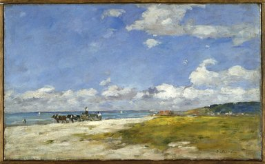 Eugène Louis Boudin (French, 1824-1898). The Beach at Trouville (Trouville, La Plage), ca. 1887-1896. Oil on canvas, 14 3/8 x 23 in. (36.5 x 58.4 cm). Brooklyn Museum, Bequest of Robert B. Woodward, 15.314