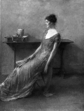Thomas Wilmer Dewing (American, 1851-1938). Lady in Gold, ca. 1912. Oil on canvas, 24 x 18 1/16 in. (60.9 x 45.8 cm). Brooklyn Museum, Contemporary Picture Purchase Fund, 15.322