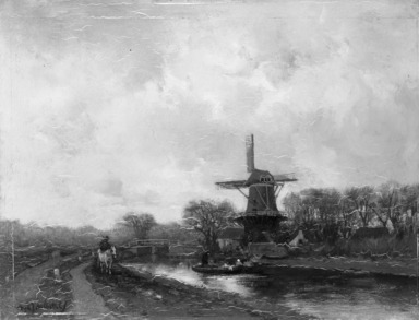 Fredericus Jacobus van Rossum du Chattel (Dutch, 1865-1917). A Canal in Holland, n.d. Oil on panel, 12 3/4 x 17 1/8 in. (32.4 x 43.5 cm). Brooklyn Museum, Bequest of Robert B. Woodward, 15.324