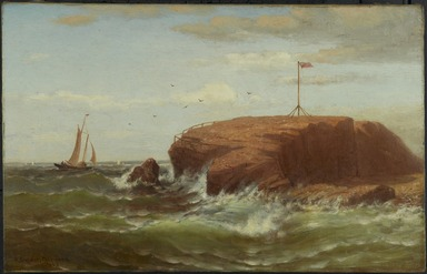 Robert Swain Gifford (American, 1840-1905). Seconnet Rock, New Bedford, Massachusetts, ca. 1865. Oil on canvas, 14 3/16 x 22 3/16 in. (36 x 56.3 cm). Brooklyn Museum, Bequest of Charles A. Schieren, 15.329