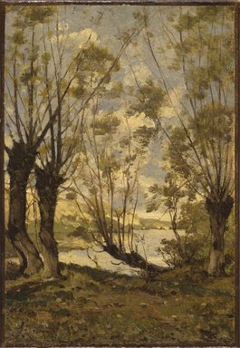Henri-Joseph Harpignies (French, 1819-1916). Willows on the Banks of the Loire, 1893. Oil on canvas, 13 1/2 x 9 1/2 in. (34.3 x 24.1 cm). Brooklyn Museum, Bequest of Robert B. Woodward, 15.332