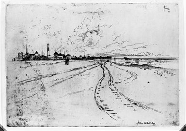 Joseph Pennell (American, 1860-1926). Below Atlantic City, 1881. Etching, plate: 9 13/16 x 13 3/4 in. (25 x 35 cm). Brooklyn Museum, Brooklyn Museum Collection, 15.337