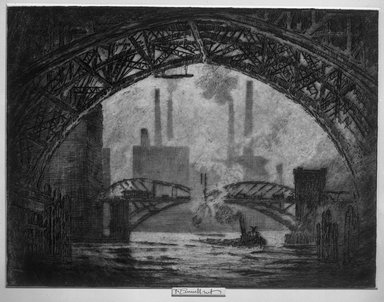 Joseph Pennell (American, 1860-1926). Under the Bridges, Chicago, 1910. Etching, plate: 9 5/16 x 12 1/4 in. (23.6 x 31.1 cm). Brooklyn Museum, Brooklyn Museum Collection, 15.345
