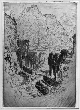 Joseph Pennell (American, 1860-1926). Taormina From the Theatre, 1913. Etching, plate: 10 1/4 x 14 15/16 in. (26.1 x 37.9 cm). Brooklyn Museum, Brooklyn Museum Collection, 15.349