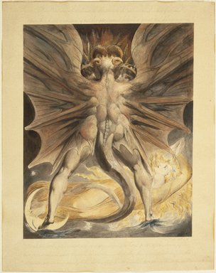 William Blake (British, 1757-1827). The Great Red Dragon and the Woman Clothed with the Sun (Rev. 12: 1-4), ca. 1803-1805. Black ink and watercolor over traces of graphite and incised lines, Image: 17 3/16 x 13 11/16 in. (43.7 x 34.8 cm). Brooklyn Museum, Gift of William Augustus White, 15.368