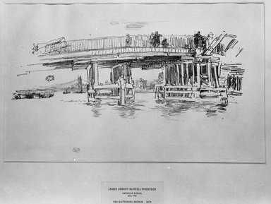 James Abbott McNeill Whistler (American, 1834-1903). Old Battersea Bridge, 1879, 1887. Lithograph, irregular: 11 3/16 x 17 15/16 in. (28.4 x 45.6 cm). Brooklyn Museum, Gift of the Rembrandt Club, 15.377