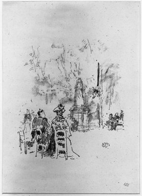 James Abbott McNeill Whistler (American, 1834-1903). Conversation Under the Statue, Luxembourg Gardens, 1893. Lithograph, Sheet: 13 3/16 x 7 7/8 in. (33.5 x 20 cm) (irregular). Brooklyn Museum, Gift of the Rembrandt Club, 15.389