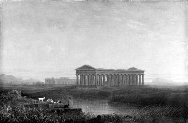 John  Sargeant Rollin Tilton (American, 1828-1888). Paestum, ca. 1860. Oil on canvas, 14 7/8 x 22 3/4 in. (37.8 x 57.8 cm). Brooklyn Museum, Bequest of Robert B. Woodward, 15.509