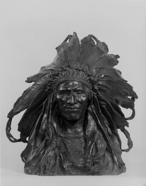 Adolph Alexander Weinman (American, born Germany, 1870-1952). Chief Blackbird, the Ogalla Sioux, modeled 1903, cast 1907. Bronze, 16 3/8 x 12 1/2 x 11 1/2 in. (41.6 x 31.8 x 29.2 cm). Brooklyn Museum, Gift of George D. Pratt, 15.512. Creative Commons-BY