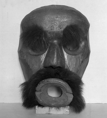 Kwakwaka'wakw. Dzunuk'wa Cannibal Woman Mask, 19th century. Cedar wood, fur (black bear?), hide, pigment, iron nails, 19 1/2 x 14 x 7 3/4 in. (49.5 x 35.6 x 19.7 cm). Brooklyn Museum, Gift of Herman Stutzer, Esq., 15.513.1. Creative Commons-BY