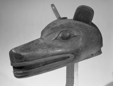 Tsimshian, Gitksan (Native American). Wolf Mask used in Wolf Dance (Walas'axa), 19th century. Wood, copper, pigment, 15 3/4 x 8 1/4 in. (40 x 21 cm). Brooklyn Museum, Gift of Herman Stutzer, Esq., 15.513.2. Creative Commons-BY
