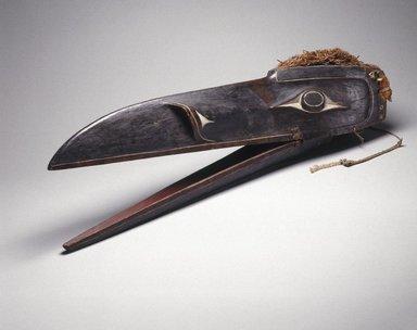 Kwakwaka'wakw. Raven Mask, 1801-1900. Wood, pigment, cedar bark, 11 x 40 x 9 1/2 in. (27.9 x 101.6 x 24.1 cm). Brooklyn Museum, Gift of Herman Stutzer, Esq., 15.513.3a-b. Creative Commons-BY