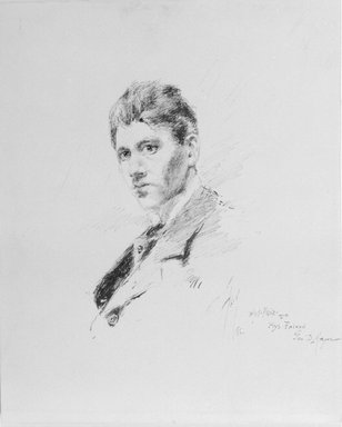 Robert Frederick Blum (American, 1857-1903). Pen Portrait of Blum by Himself, 1880. Pen and ink on paperboard, Sheet: 11 x 8 15/16 in. (27.9 x 22.7 cm). Brooklyn Museum, Gift of Marie Shields Myer, 15.516