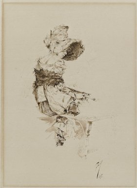 Robert Frederick Blum (American, 1857-1903). Waiting for Aaron, 1880. Pen and brush and black and brown inks with scratching out on cream laid paper, Image: 11 x 8 in. (27.9 x 20.3 cm). Brooklyn Museum, Caroline H. Polhemus Fund, 15.521