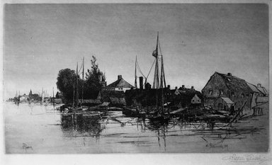 Stephen Parrish (American, 1846-1938). Portsmouth, N.H., 1884. Etching on Japan paper, Plate: 7 7/8 x 13 15/16 in. (20 x 35.4 cm). Brooklyn Museum, Gift of E. Colonna, 15.61