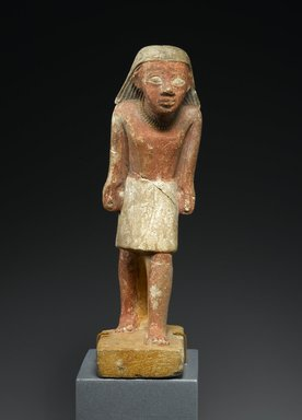 Statuette of a Striding Man, ca. 2288-2170 B.C.E. Limestone, paint, 6 1/2 x 1 3/4 x 3 in. (16.5 x 4.4 x 7.6 cm). Brooklyn Museum, Gift of Evangeline Wilbour Blashfield, Theodora Wilbour, and Victor Wilbour honoring the wishes of their mother, Charlotte Beebe Wilbour, as a memorial to their father, Charles Edwin Wilbour, 16.238. Creative Commons-BY