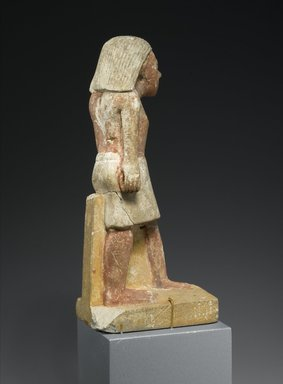 Statuette of a Striding Man, ca. 2288-2170 B.C.E. Limestone, paint, 6 5/8 x 3 1/16 x 1 3/4in. (16.9 x 7.7 x 4.4 cm). Brooklyn Museum, Gift of Evangeline Wilbour Blashfield, Theodora Wilbour, and Victor Wilbour honoring the wishes of their mother, Charlotte Beebe Wilbour, as a memorial to their father, Charles Edwin Wilbour, 16.238. Creative Commons-BY