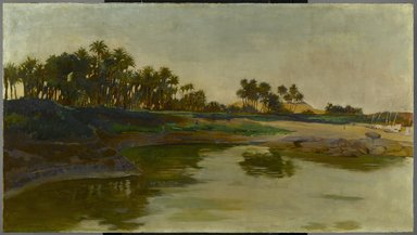 Edwin Howland Blashfield (American, 1848-1936). Island of Elephantine (Egypt), ca. 1886-1891. Oil on canvas, 26 5/16 x 46 13/16 in. (66.8 x 118.9 cm). Brooklyn Museum, Gift of Evangeline Wilbour Blashfield, Theodora Wilbour, and Victor Wilbour honoring the wishes of their mother, Charlotte Beebe Wilbour, as a memorial to their father Charles Edwin Wilbour, 16.32