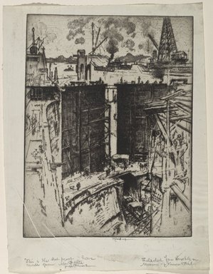 Joseph Pennell (American, 1860-1926). The Guard Gate, Gatun Lock, Panama, 1912. Etching on paper, Sheet: 14 3/4 x 11 1/4 in. (37.5 x 28.6 cm). Brooklyn Museum, Gift of Joseph Pennell, 16.39