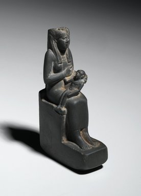 Statuette of Isis Holding Horus, 664–525 B.C.E. Stone, 5 1/2 x 1 3/8 x 3 in. (14 x 3.5 x 7.6 cm). Brooklyn Museum, Gift of Evangeline Wilbour Blashfield, Theodora Wilbour, and Victor Wilbour honoring the wishes of their mother, Charlotte Beebe Wilbour, as a memorial to their father, Charles Edwin Wilbour, 16.430. Creative Commons-BY