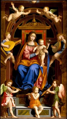 Workshop of Bernardino Luini (Italian, Milanese School, circa 1480-1532). Madonna and Child Enthroned with Angels, mid 16th century. Oil on poplar panel, 96 3/4 x 54 1/16 in. (245.7 x 137.3 cm). Brooklyn Museum, Purchased with funds given by Martin Joost, Frank S. Jones, L. W. Lawrence, Dick S. Ramsay, John T. Underwood, Henry H. Benedict, Herman Stutzer, F. Healy, Horace J. Morse, Luke V. Lockwood, Henry L. Batterman, Edward C. Blum, Frank L. Babbott, William H. Crittenden, W.C. Courtney, Frederic B. Pratt, H. I. Pratt, Alfred T. White, E. LeGrand Beers, C. D. Pratt, C. J. Peabody, Wallace A. Putnam, and A. Augustus Healy, 16.441