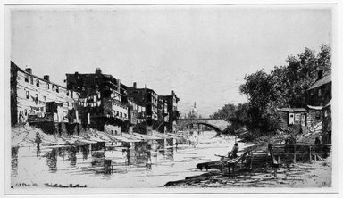 Charles Adams Platt (American, 1861-1933). The Little River, Hartford, 1881. Etching on cream-colored wove, Sheet: 17 5/16 x 22 7/16 in. (44 x 57 cm). Brooklyn Museum, Gift of Kennedy & Company, 16.446