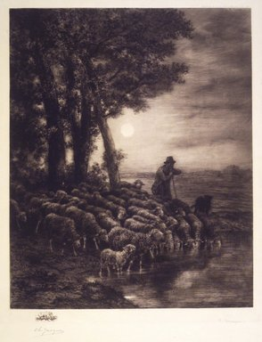 After Charles-Émile Jacque (French, 1813-1894). Moonlight, ca. 1888. Etching on wove paper on machine-made Japan paper mark, 21 1/4 x 17 1/2 in. (54.0 x 44.5 cm). Brooklyn Museum, Gift of M. Knoedler & Co., 16.468