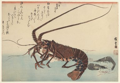 Utagawa Hiroshige (Ando) (Japanese, 1797-1858). Crayfish and Two Shrimps, ca. 1840. Woodblock color print, 9 3/4 x 14 5/16 in. (24.8 x 36.3 cm). Brooklyn Museum, Museum Collection Fund, 16.524