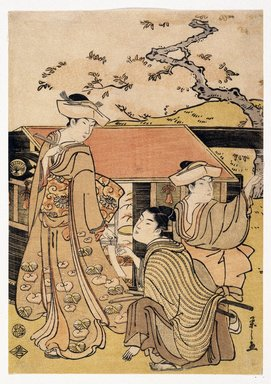 Eishi Chobunsai (Japanese, 1756-1829). Cherry Blossom Viewing at Gotenyama Hill, ca. 1794. Woodblock color print, sheet: 11 x 7 3/16 in. (26.0 x 18.3 cm). Brooklyn Museum, Museum Collection Fund, 16.525