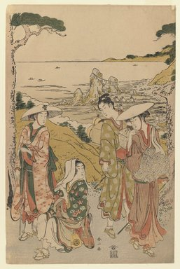 Katsukawa Shunzan (Japanese, active 1780-1800). A Company of Pilgrims from Yedo Outside a Tea House on the Hills Behind the Beach of Futami Admiring the View, ca. 1795. Woodblock color print, 14 3/4 x 9 5/8 in. (37.4 x 24.5 cm). Brooklyn Museum, Museum Collection Fund, 16.527