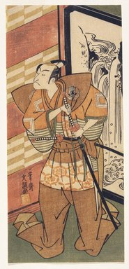 Ippitsusai Buncho (Japanese, 1725-1794, active 1765-1780). An Actor of the Ichikawa School about to Draw His Sword, ca. 1792. Woodblock color print, 11 1/4 x 5 1/8 in. (28.6 x 13 cm). Brooklyn Museum, 16.529