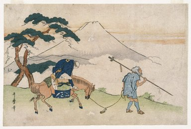 Kitagawa Utamaro (Japanese, 1753-1806). Travels Looking at Mt. Fuji, ca. 1805-1820. Woodblock color print, 10 1/8 x 15 1/4 in. (25.5 x 38.6 cm). Brooklyn Museum, Museum Collection Fund, 16.530