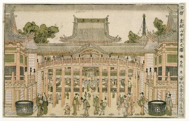 Katsushika Hokusai (Japanese, 1760-1849). Inside the Courtyard of the Toeizan Temple at Ueno, 1786. Woodblock color print, 9 1/2 x 14 3/4 in. (24.1 x 37.5 cm). Brooklyn Museum, Museum Collection Fund, 16.531