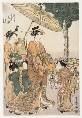 Kitagawa Utamaro (Japanese, 1753-1806). Courtesan Renzan of Hyogo-ya Tea House with her Two Attendants, ca. 1788-1790. Woodblock color print, 12 3/4 x 8 11/16 in. (32.2 x 22.0 cm). Brooklyn Museum, Museum Collection Fund, 16.533