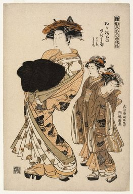 Isoda Koryusai (Japanese, ca. 1766-1788). Azumaya, a Yoshiwara Beauty of the Tea House Matsu Hanaya Followed by Two Attendants, ca. 1777. Woodblock color print, 15 1/2 x 10 1/2 in. (39.4 x 26.7 cm). Brooklyn Museum, Museum Collection Fund, 16.537