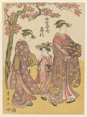 Utagawa Toyokuni I (Japanese, 1769-1825). The Courtesan Ogino of Ogiya Tea House with Two Attendants, ca. 1790-1795. Woodblock color print, 10 3/8 x 7 5/8 in. (26.4 x 19.4 cm). Brooklyn Museum, Museum Collection Fund, 16.540