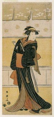Katsukawa Shunei (Japanese, 1762-1819). The Actor Ichikawa Monnosuke II as Karigane no Ofumi, 1792. Woodblock color print, 12 3/4 x 5 9/16 in. (32.0 x 14.2 cm). Brooklyn Museum, Museum Collection Fund, 16.543