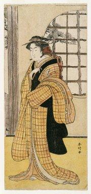 Katsukawa Shunko (Japanese, 1743-1812). The Actor Iwai Hanshiro IV as Ohatsu, ca. 1783. Woodblock color print, 12 13/16 x 5 3/4 in. (32.3 x 14.5 cm). Brooklyn Museum, Museum Collection Fund, 16.546